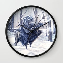 Wizard Riding an Elk in the Snow Wall Clock
