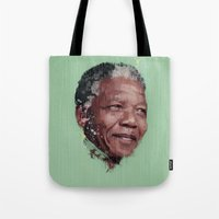 mandela Tote Bags featuring Nelson Mandela by LightCircle