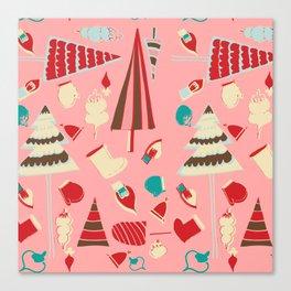 Vintage Christmas Pink Canvas Print