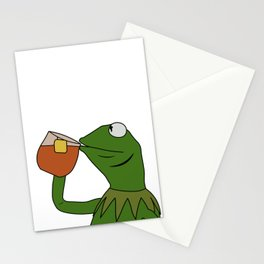 Kermit Inspired Meme King Sipping Tea Stationery Cards