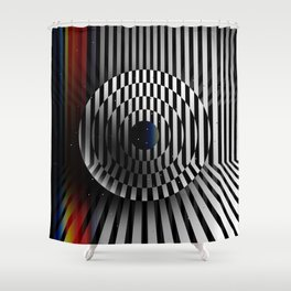 Glitch circles in perspective with multicolored light bar. Op art. Shower Curtain