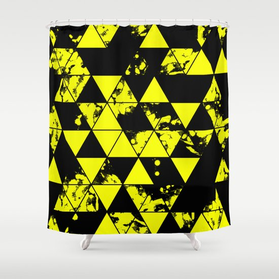 splatter triangles in black and yellow shower curtain by printpix society6. Black Bedroom Furniture Sets. Home Design Ideas