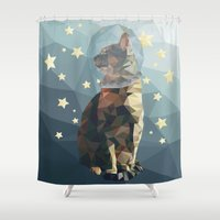 space cat Shower Curtains featuring Space Cat. by Dani Does Art