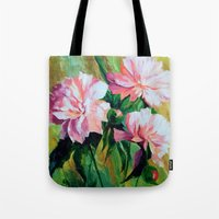 peonies Tote Bags featuring Peonies by OLHADARCHUK