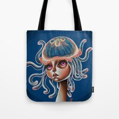 Jellyfish Head pop Surrealism Illustration Tote Bag