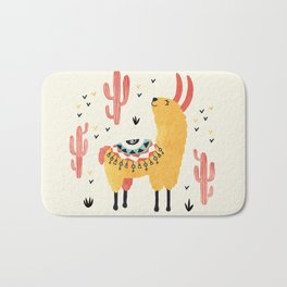 Yellow Llama Red Cacti Bath Mat