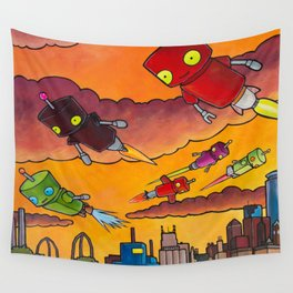 Robot - Air Traffic Wall Tapestry