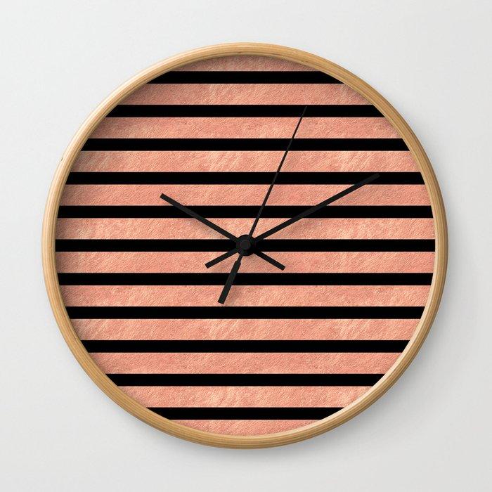 Rose Gold Stripes on Black Wall Clock