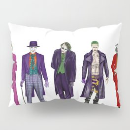 Evolution of the Joker Print, Cesar Romero, Ja-ck Nicholson - Heath Ledger - Jared Leto - Jaoquin Pheonix1 Pillow Sham