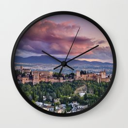 The alhambra Palace. Cloudy sunset. Granada. Spain Wall Clock