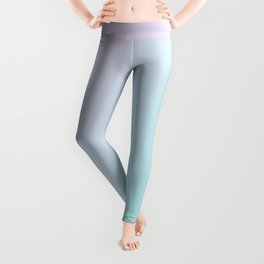 Light Pink Magenta and Light Soft Cyan Blue Gradient Ombré Leggings