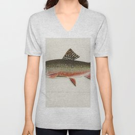 Male brook trout (Salvelinus Fontinalis) illustrated by Sherman F Denton (1856-1937) from Game Birds Unisex V-Neck