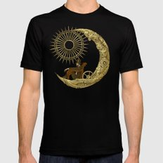 Moon Travel Mens Fitted Tee MEDIUM Black