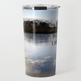 The Sky and Trees Reflection on the Frozen Duck Pond Travel Mug