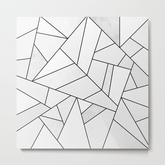 White Stone / Black Lines Metal Print
