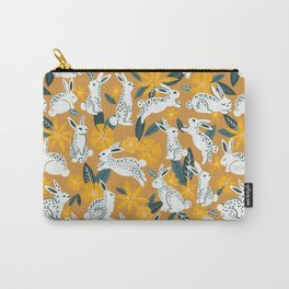 Bunnies & Blooms - Ochre & Teal Palette Carry-All Pouch