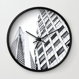 pyramid building and modern building at San Francisco, USA in black and white Wall Clock