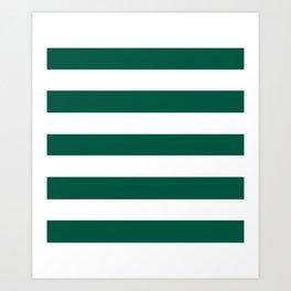 Castleton green - solid color - white stripes pattern Art Print