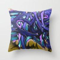 graffiti Throw Pillows featuring Graffiti by Fine2art