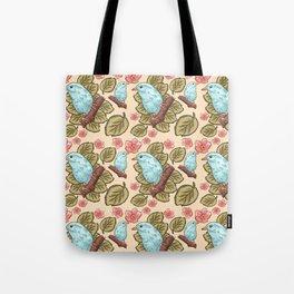 Vintage brown pink teal cute birds botanical floral Tote Bag