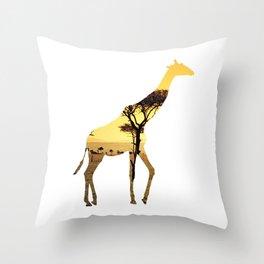 Giraffe Cutout 2 Throw Pillow