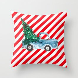Christmas Tree Delivery Throw Pillow