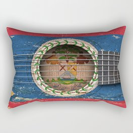 Old Vintage Acoustic Guitar with Belize Flag Rectangular Pillow