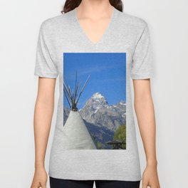 Tipi with snow capped mountains Unisex V-Neck