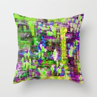boyfriend Throw Pillows featuring BOYFRIEND SWEATS(violet & lime) by Glint & Lime Art