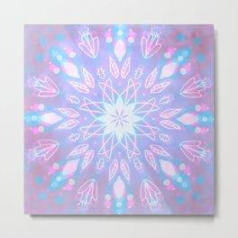 Purple, Teal, White Aura Mandala Metal Print