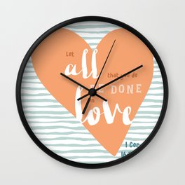 """""""All in Love"""" Hand-Lettered Bible Verse Wall Clock"""