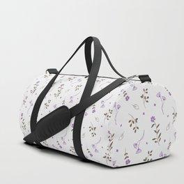 Lavender and Brown Spring Floral Print Duffle Bag