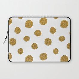 Golden touch III - Gold glitter effect polka dot pattern Laptop Sleeve