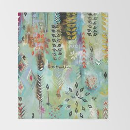 """Fly Free Between"" Original Painting by Flora Bowley Throw Blanket"