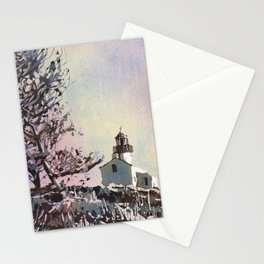 Old Point Loma Lighthouse in Cabrillo National Monument.  Watercolor painting of lighthouse. Stationery Cards