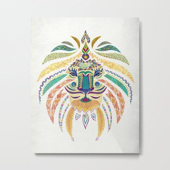 Whimsical Tribal Lion Metal Print