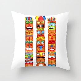 Tiki Totem Poles - Original Throw Pillow