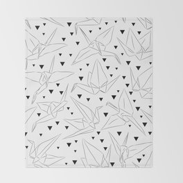 Japanese Origami white paper cranes sketch, symbol of happiness, luck and longevity Throw Blanket