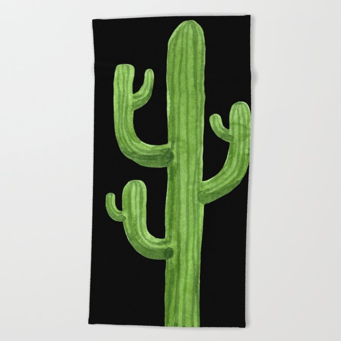 Green Cactus on Black Beach Towel