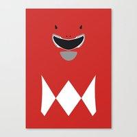 power ranger Canvas Prints featuring Power Rangers - Red Ranger Minimalist by TracingHorses