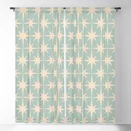 Atomic Age Retro 1950s Starburst Pattern in Cream and 50s Mint Celadon  Blackout Curtain