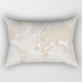 """Rustic world map in grey and brown """"Lucille"""" Rectangular Pillow"""