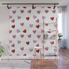 Hearts valentines day candy heart love sayings i love you pattern Wall Mural