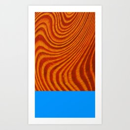 Orange Blue Wood Art Print