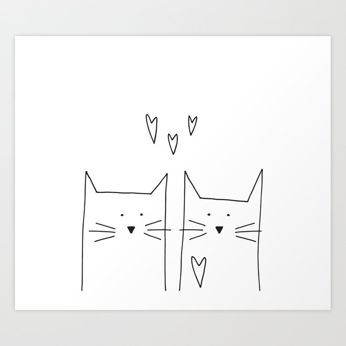 cat and cat Art Print