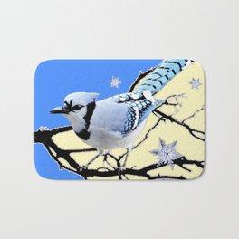 BLUE JAY DESIGN IN YELLOW-BLUE SNOWFLAKES ART Bath Mat