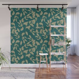 Golden leaves pattern on deep emerald background. Wall Mural