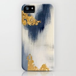 Blue and Gold Ikat Abstract Pattern #2 iPhone Case