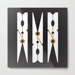 Laundry Clothespins - Gold, Black and White Metal Print