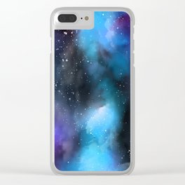 Blue Purple Galaxy Watercolor Artwork Clear iPhone Case